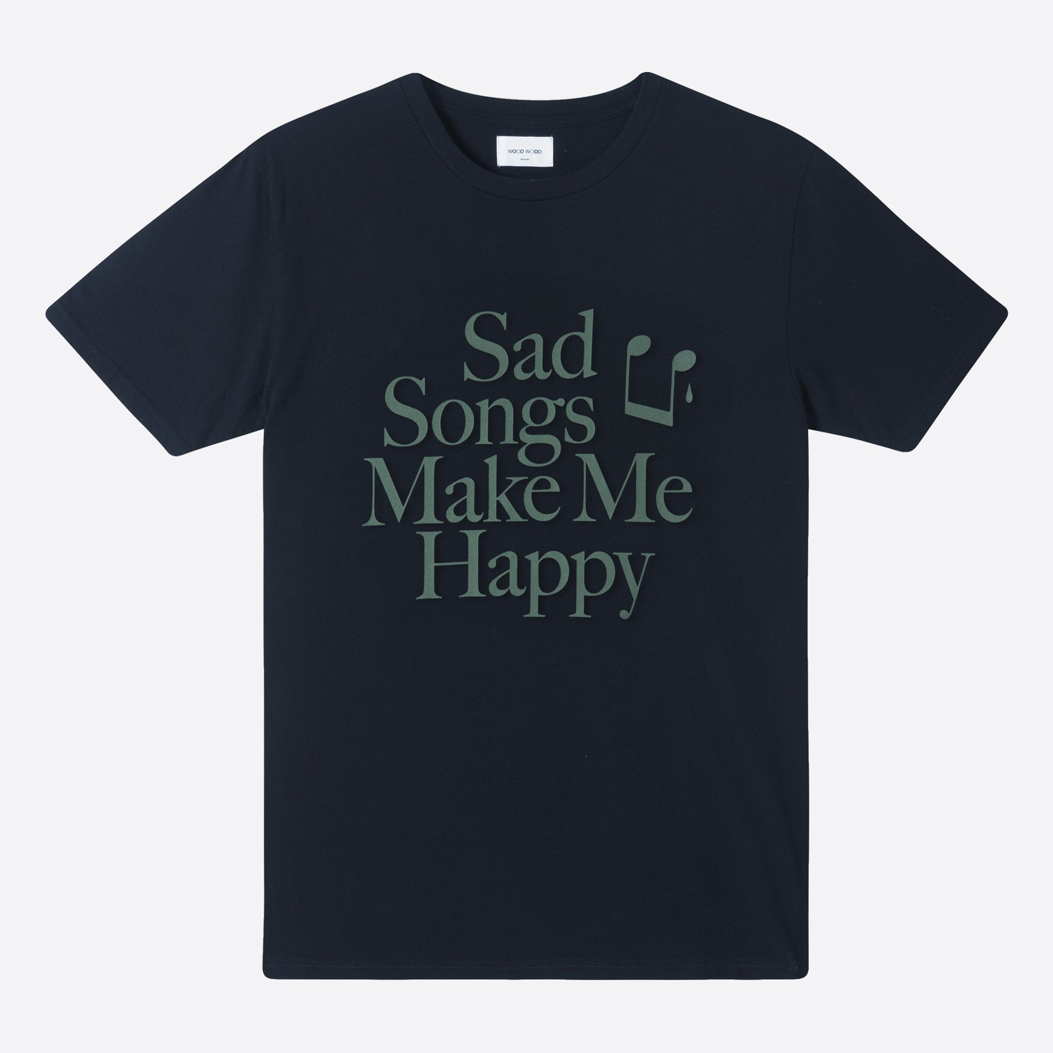 Wood Wood Make Me Happy T-Shirt in Navy