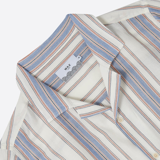 Wax London Didcot Short Sleeve Shirt in Vertical Stripe