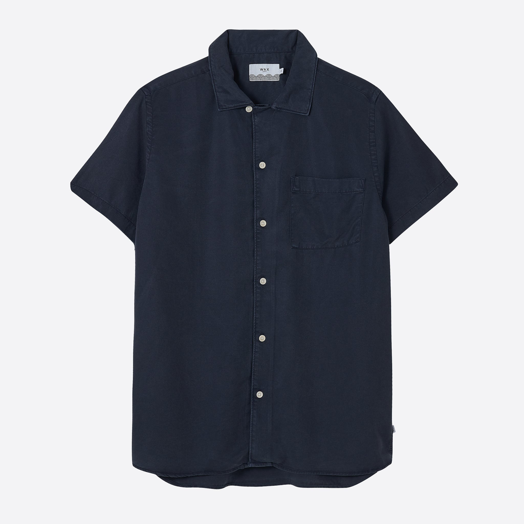 Wax London Fazely Short Sleeve Shirt in Deep Ocean