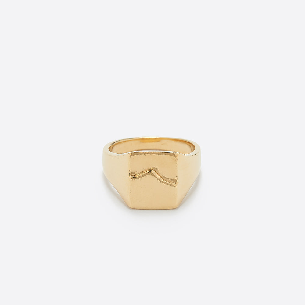 Wolf Circus Mountain Signet Ring in Gold