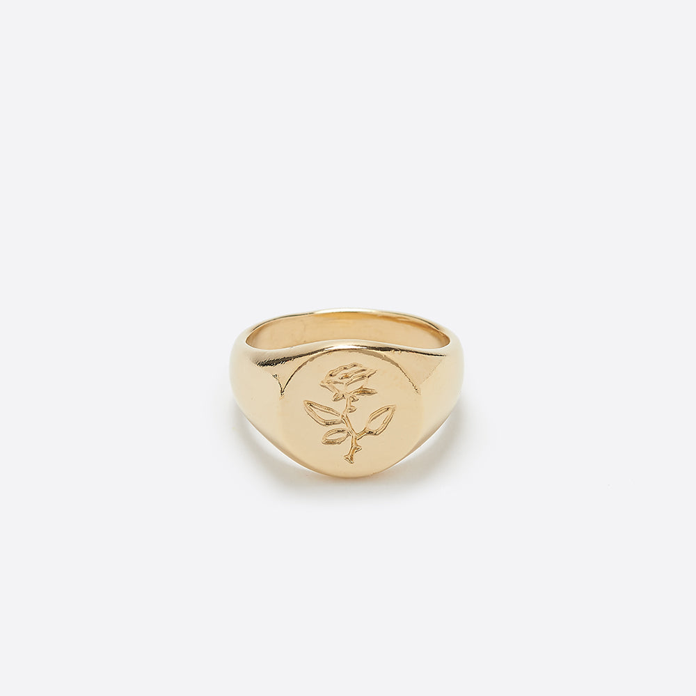 Wolf Circus Rose Signet Ring in Gold