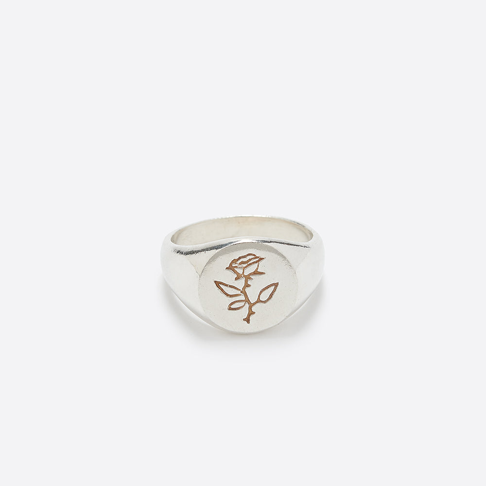 Wolf Circus Rose Signet Ring in Silver