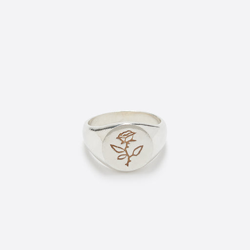 Wolf Circus Men's Rose Signet Ring in Silver