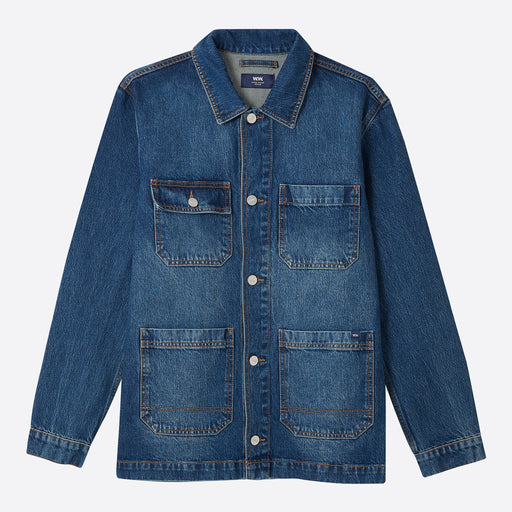 Wood Wood Gavin Denim Jacket in Worn Blue