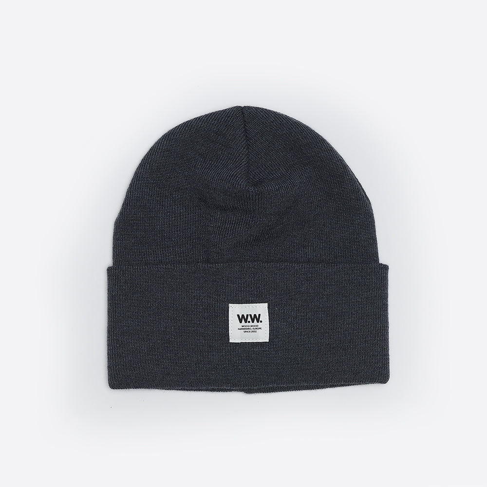 Wood Wood Gerald Tall Beanie in Grey Melange