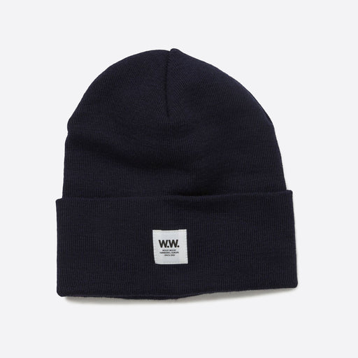 Wood Wood Gerald Tall Beanie in Navy