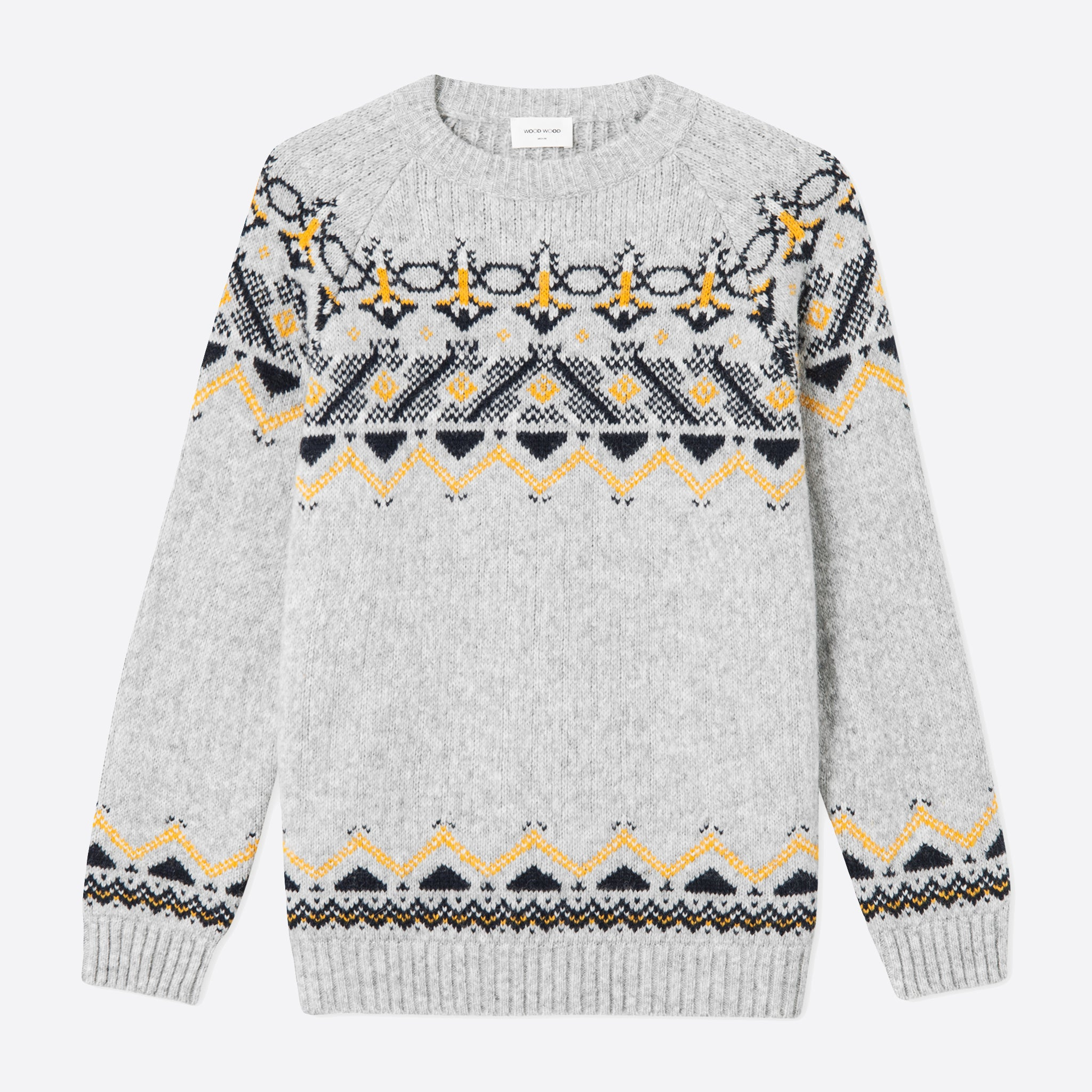 Wood Wood Gunther Sweater in Grey Jacquard