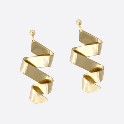 Young Frankk Ribbon Earrings in Gold