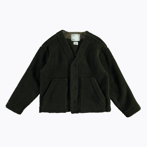 Girls of Dust Baseball Cardigan in Teddy Verde