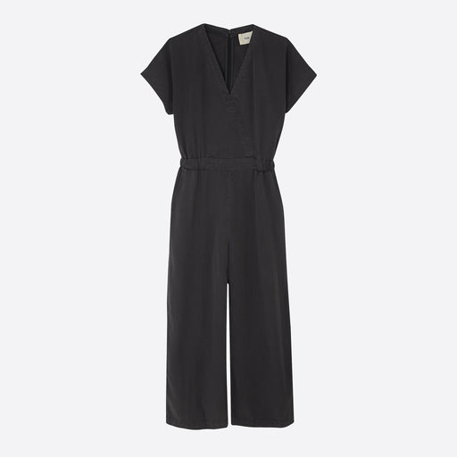 Folk Wrap Jumpsuit in Soft Black