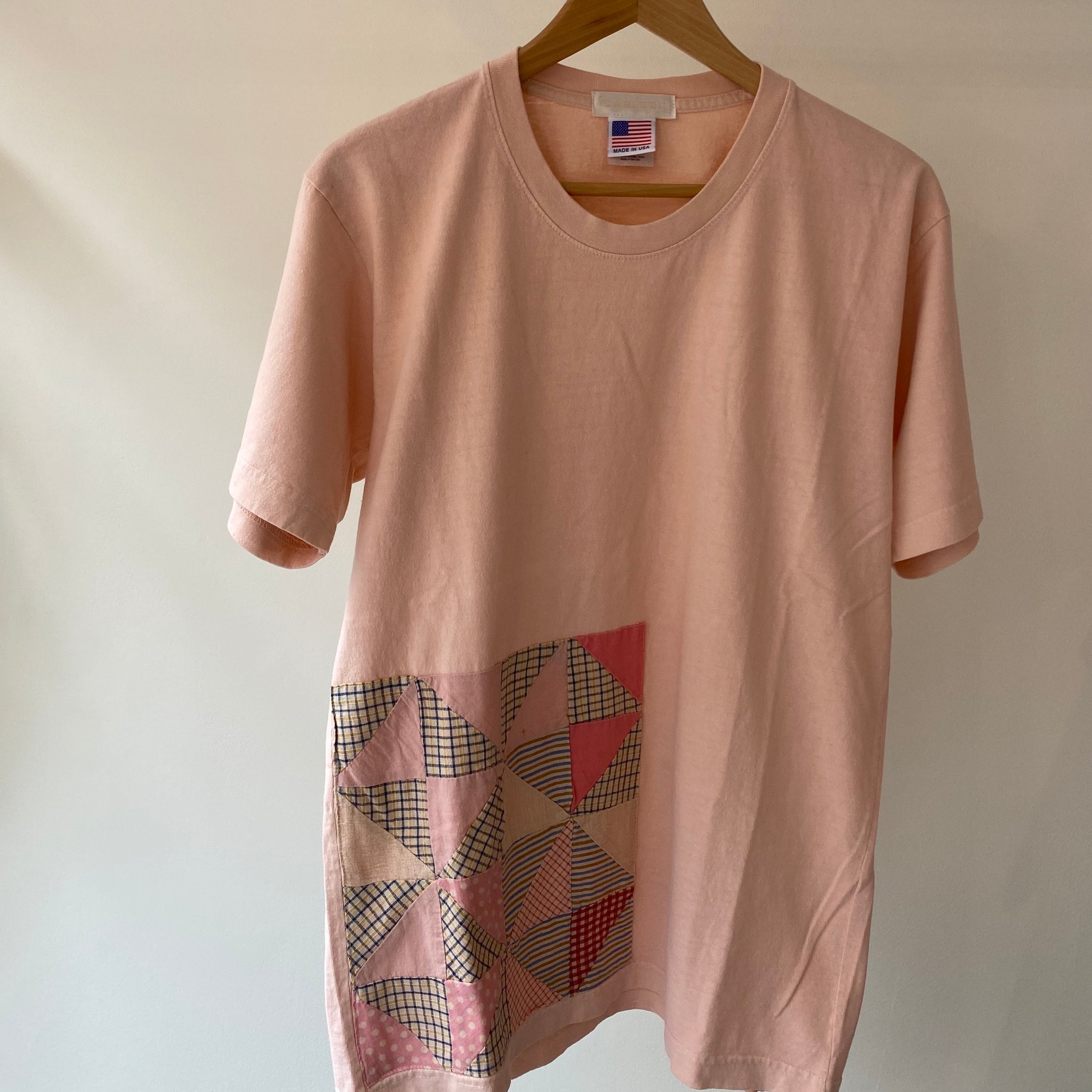 Carleen Quilt Patch Tee Pink Overdye in Small