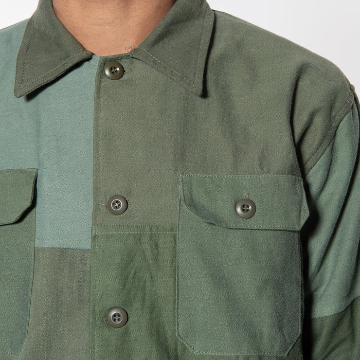 OVERLORD Patchwork Overshirt in Olive