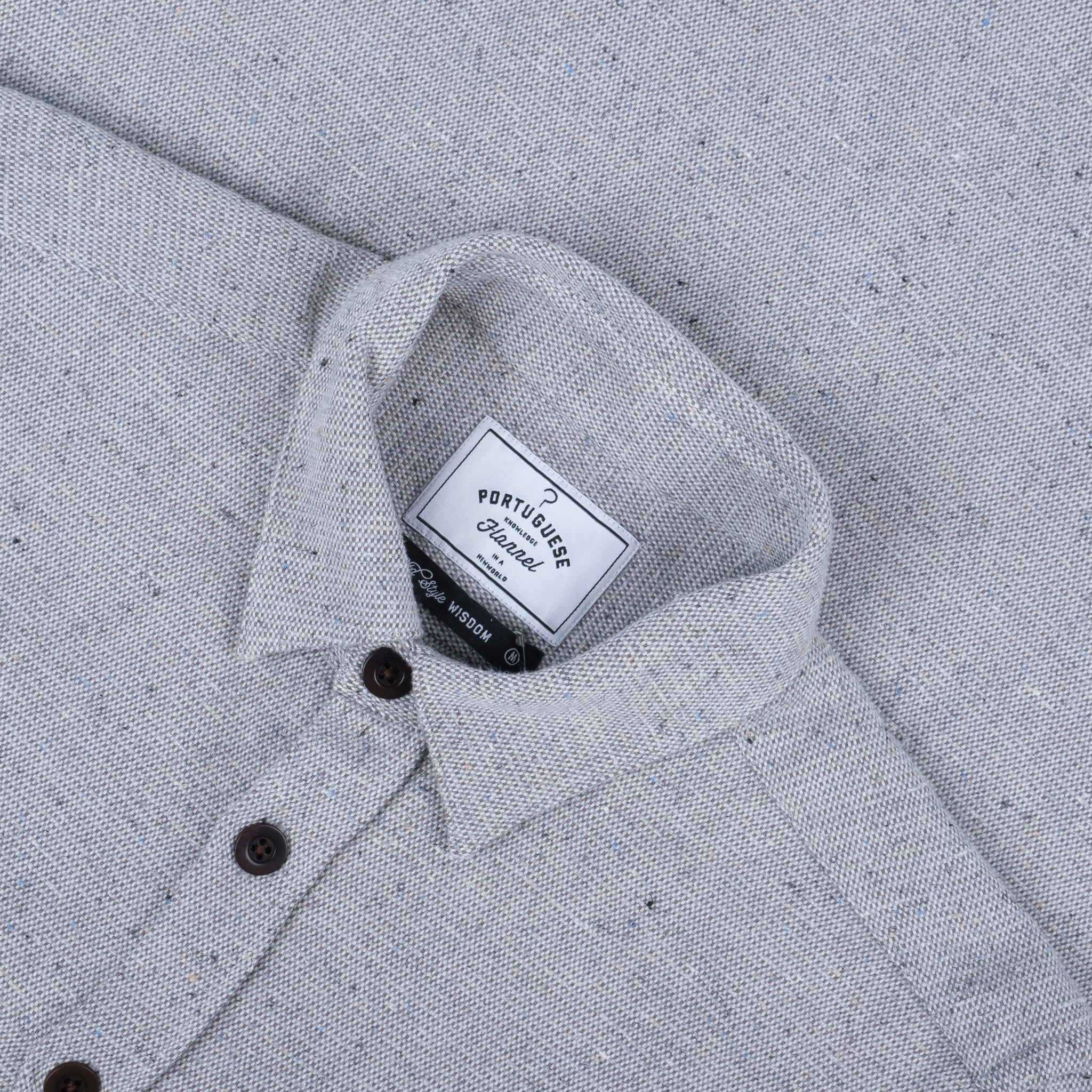 Portuguese Flannel Rude Shirt in Light Grey