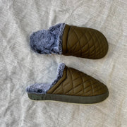 Malibu Colony Mule Slippers in Olive/ Grey