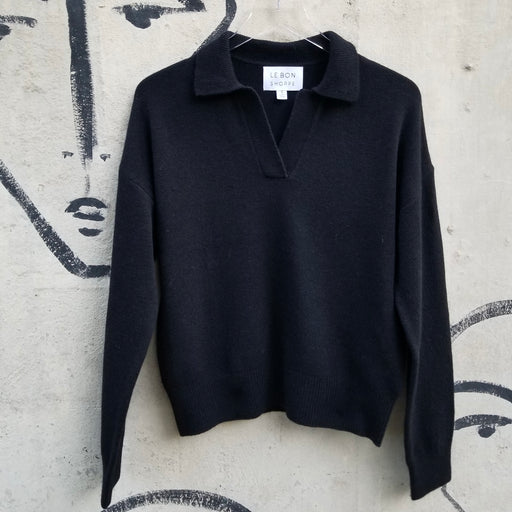 Le Bon Shoppe Nanette Sweater Top in Ebony
