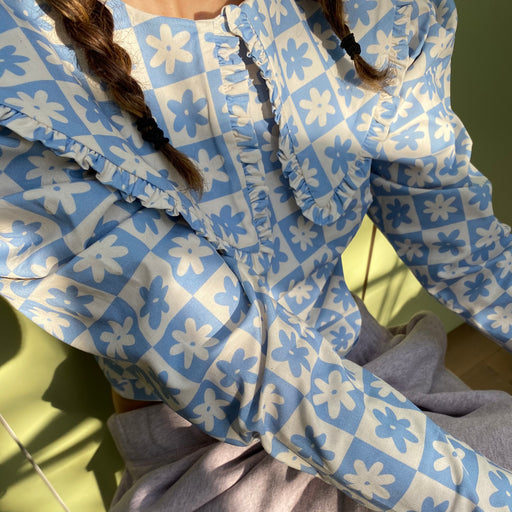Lisa Says Gah Wendy Top in Blue Daisy Check