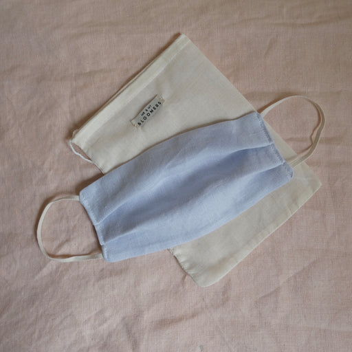 Me & My Bloomers Naturally Dyed Linen Face Mask in Light Blue