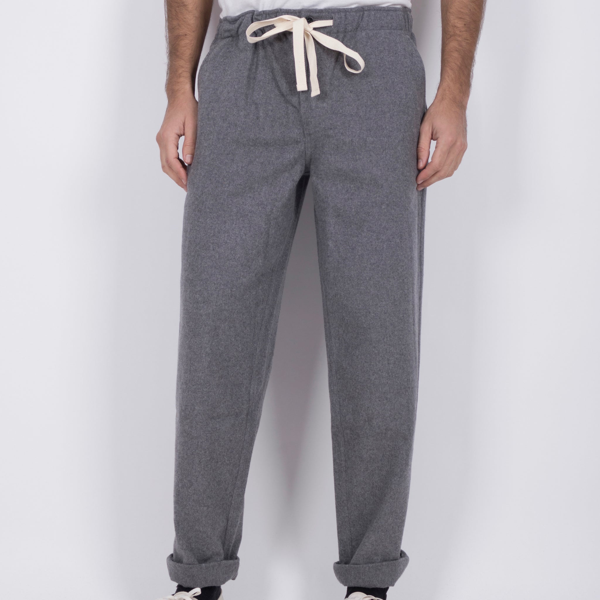 Portuguese Flannel Chemy Trousers in Grey