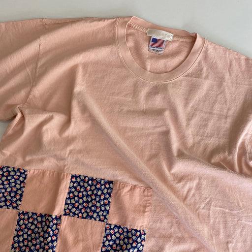 Carleen Quilt Patch Tee Pink Overdye in Large