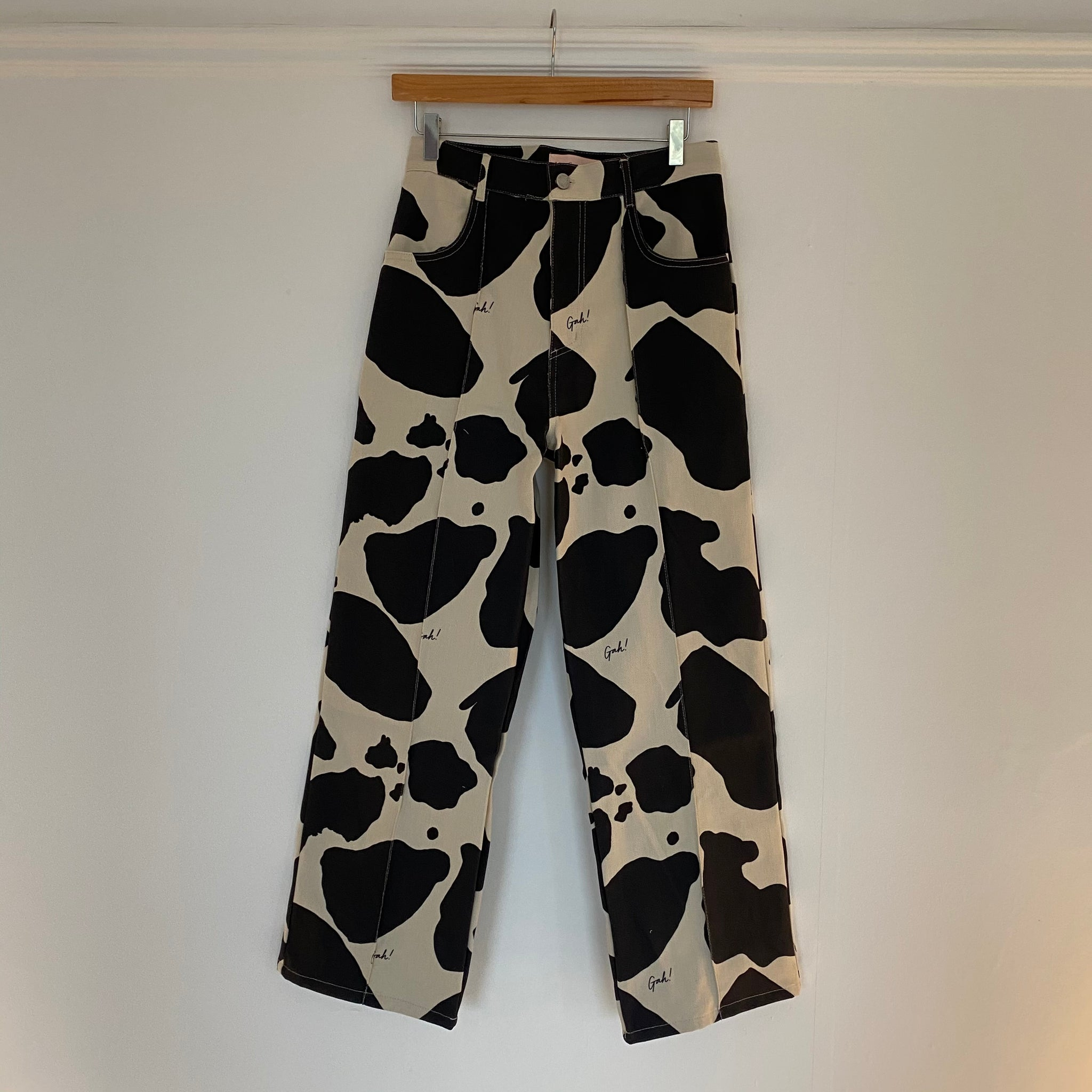 Lisa Says Gah Robyn Jeans in Black/Ivory Cow Print