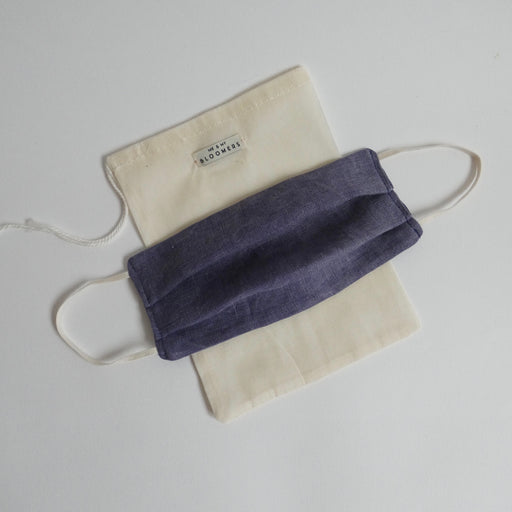 Me & My Bloomers Naturally Dyed Linen Face Mask - Dark Blue