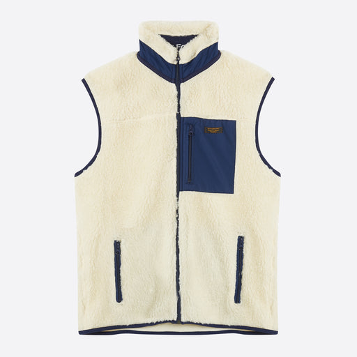 King Of Indigo Etienne Sleeveless Sherpa Body Warmer in Off White
