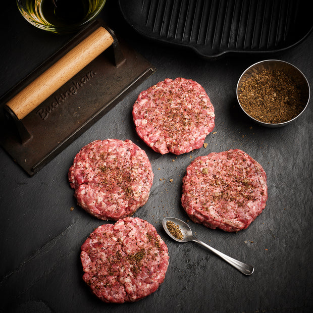 Exotic Pepper Seasoned Beef burgers x 4 -  150g each (600g total)