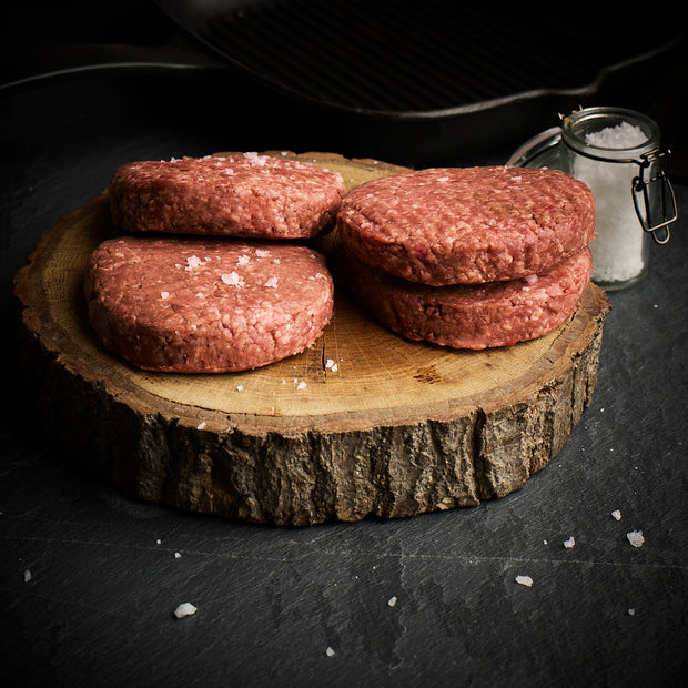 Beef burgers x 4 -  150g each (600g total)