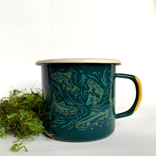 Enamel and Stainless Steel Mug