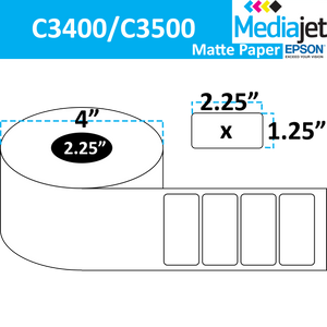 "<strong>2.25"" x 1.25""</strong><br>Die Cut Matte Paper Inkjet Labels for Epson C3400 / C3500<br>(8 Rolls)"