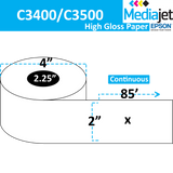 "<strong>2"" x 85'</strong><br>Continuous High Gloss Paper Inkjet Labels for Epson C3400 / C3500<br>(12 Rolls)"