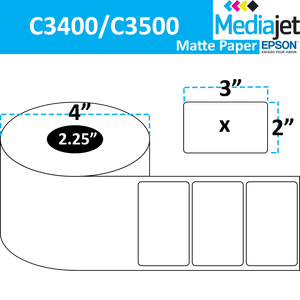"<strong>3"" x 2""</strong><br>Die Cut Matte Paper Inkjet Labels for Epson C3400 / C3500<br>(8 Rolls)"