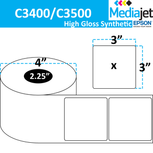 "<strong>3"" x 3""</strong><br>Die Cut High Gloss Synthetic Inkjet Labels for Epson C3400 / C3500<br>(8 Rolls)"