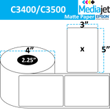 "<strong>3"" x 5""</strong><br>Die Cut Matte Paper Inkjet Labels for Epson C3400 / C3500<br>(8 Rolls)"