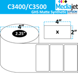 "<strong>4"" x 2""</strong><br>Die Cut GHS Matte Synthetic Inkjet Labels for Epson C3400 / C3500<br>(8 Rolls)"