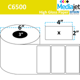 "<strong>4"" x 2""</strong><br>Die Cut Gloss Paper Inkjet Labels for Epson C6500<br>(4 Rolls)"