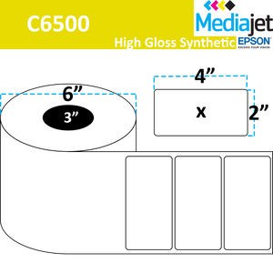 "<strong>4"" x 2""</strong><br>Die Cut Gloss Synthetic Inkjet Labels for Epson C6500<br>(4 Rolls)"