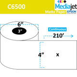 "<strong>4"" x 210ft</strong><br>Die Cut Matte Paper Inkjet Labels for Epson C6500<br>(4 Rolls)"