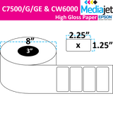 "<strong>2.25"" x 1.25""</strong><br>Die Cut High Gloss Paper Inkjet Labels for Epson C7500/6000<br>(2 Rolls)"