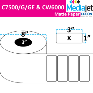 "<strong>3"" x 1""</strong><br>Die Cut Matte Paper Inkjet Labels for Epson C7500/6000<br>(2 Rolls)"
