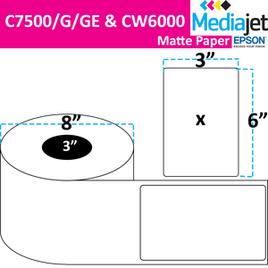 "<strong>3"" x 6""</strong><br>Die Cut Matte Paper Inkjet Labels for Epson C7500/6000<br>(2 Rolls)"