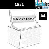 "8.325"" x 11.625"" (A4) GHS Inkjet Labels for Epson C831"