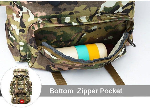 70L Large Capacity Multi Function Waterproof Rucksack for Hike Travel Backpacks Mochila Militar