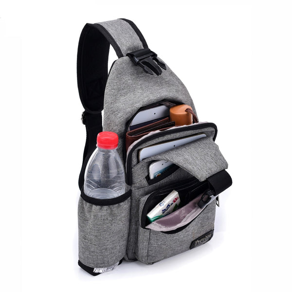 Sling Bag Shoulder Satchel With Side Bottle Pocket