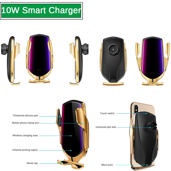 Automatic Clamping 10W Car Wireless Charger