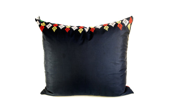 VINTAGE EMBROIDERED NAVY SILK PILLOW