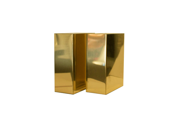 MIRRORED BRASS BOOKENDS