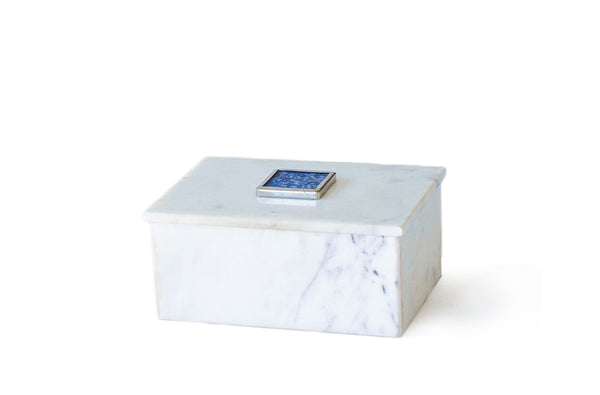 WHITE MARBLE BOX WITH LID