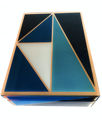 GLASS & WOOD BOX W/ GEOMETRIC DESIGN - BLUE