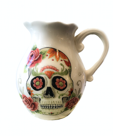 WATER PITCHER WITH FLOWERS AND SKULL